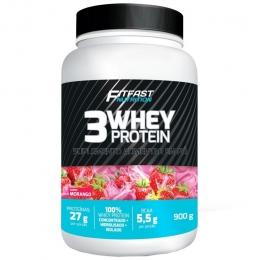 3WHEY protein morango fitfast nutrition 900G pote